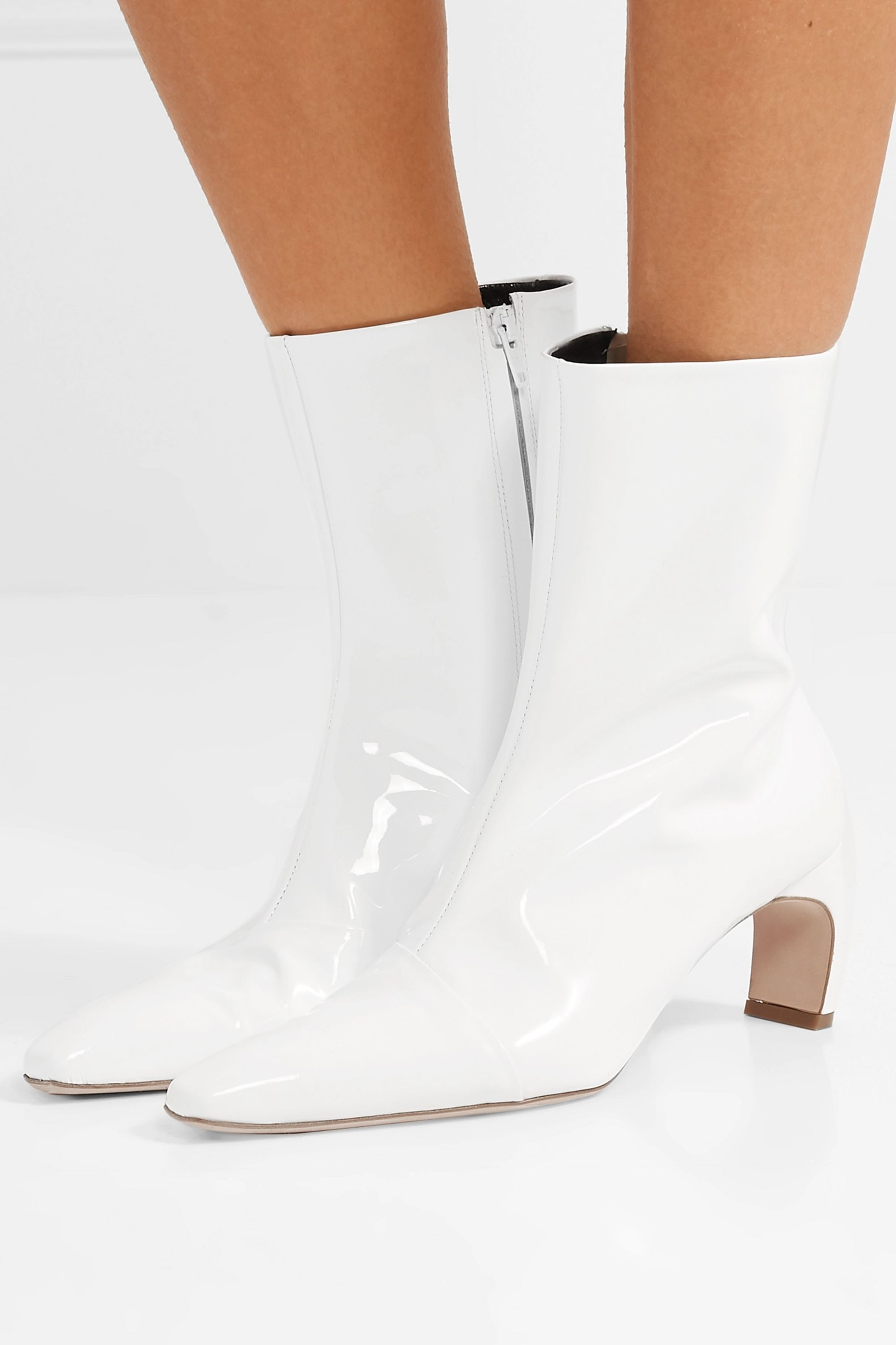 White Patent-leather ankle boots