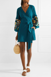 Embroidered crinkled-cotton wrap dress
