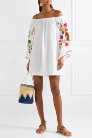 Off-the-shoulder embroidered crinkled-cotton mini dress