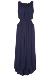 Frayed cutout crinkled-voile maxi dress
