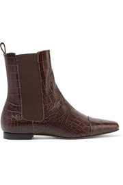 Trademark Delphine croc-effect leather ankle boots