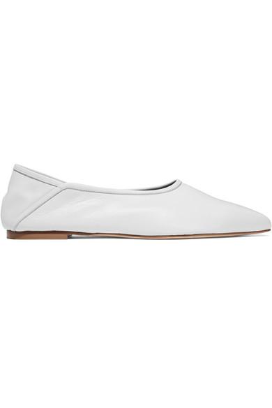 Trademark - Baez Leather Point-toe Flats - White
