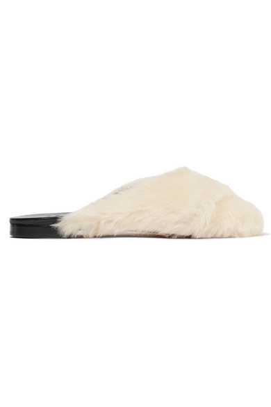Trademark - Shearling And Leather Slides - Cream