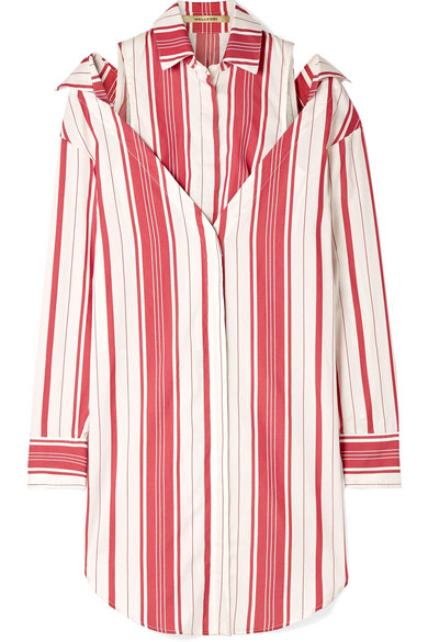 HELLESSY Duquette layered striped silk and cotton-blend shirt