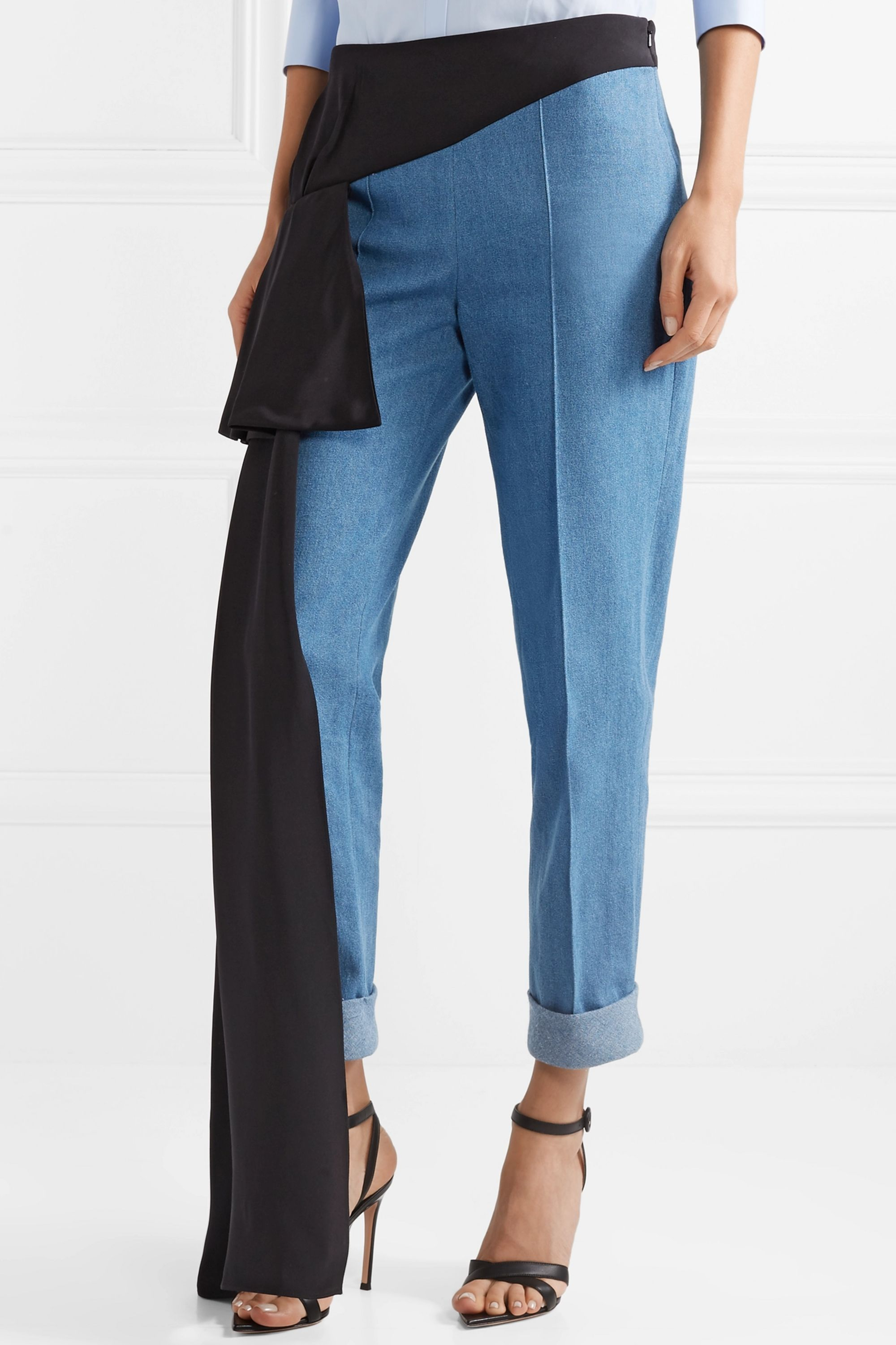 Hellessy Romeo silk-trimmed tapered cotton-chambray pants
