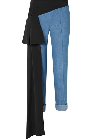 Romeo Silk-Trimmed Tapered Cotton-Chambray Pants, Medium Blue