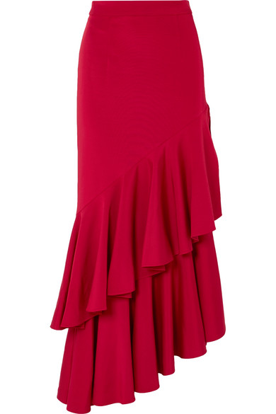 Hellessy - Poppy Asymmetric Ruffled Crepe Maxi Skirt - Red
