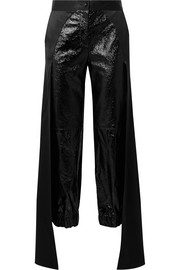 Jagger draped glossed textured-leather tapered pants