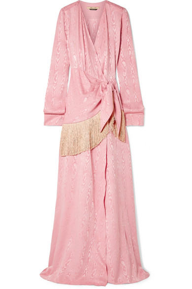HELLESSY Emerson fringe-trimmed moire wrap maxi dress