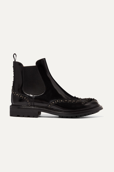 AURA MET STUDDED GLOSSED-LEATHER CHELSEA BOOTS from NET-A-PORTER
