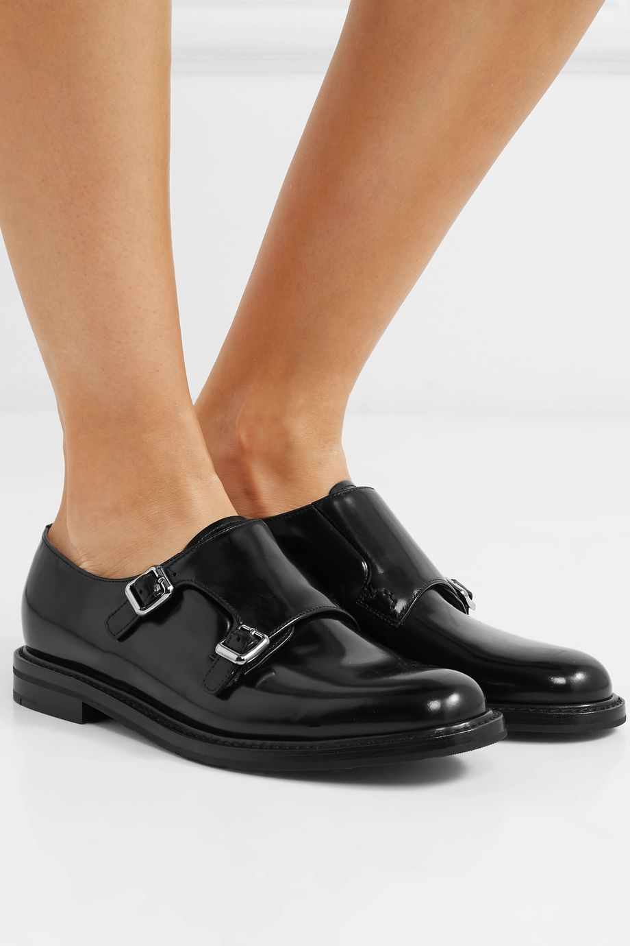 Church's Lora R buckled glossed-leather brogues