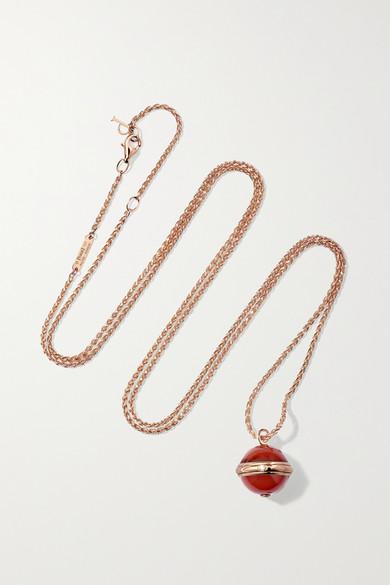 PIAGET Possession 18-Karat Rose Gold, Carnelian And Diamond Necklace