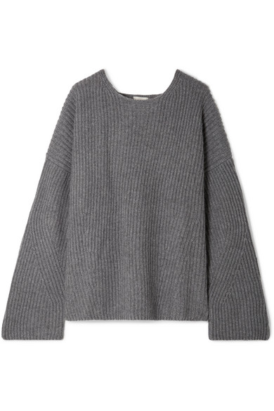 Seoul Open-Back Ribbed Cashmere Sweater, Gray