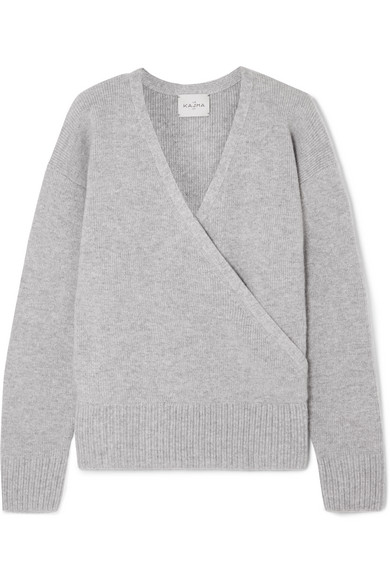 LE KASHA London Wrap-Effect Cashmere Sweater in Light Gray