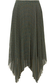 Checked plissé-georgette skirt
