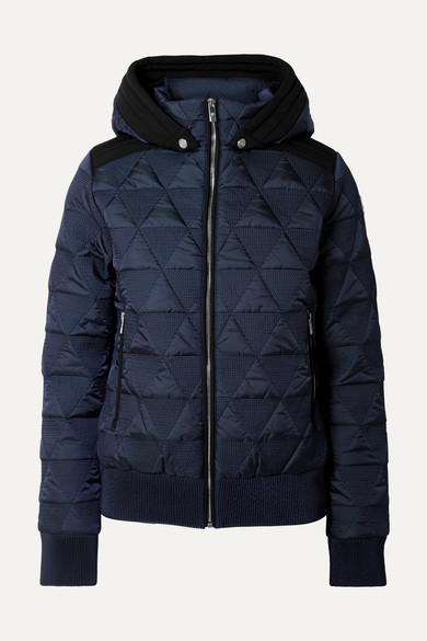 FUSALP Loria Hooded Quilted Ski Jacket in Navy