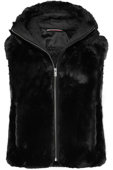 FUSALP Peggy Hooded Faux Fur Gilet in Black