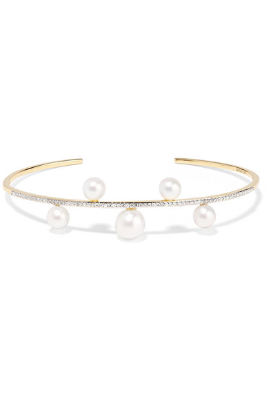 MATEO 14-karat gold, pearl and diamond cuff