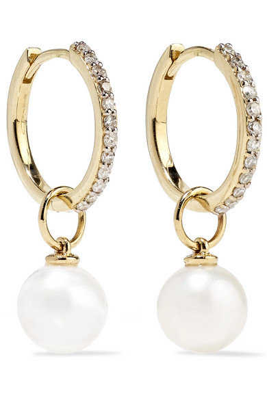 MATEO 14-karat gold, diamond and pearl hoop earrings