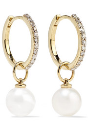 14-karat gold, diamond and pearl hoop earrings