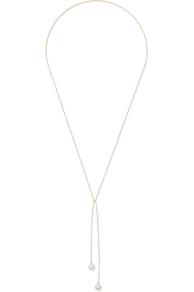 MATEO 14-karat gold pearl wrap necklace