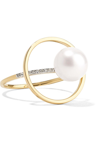 MATEO 14-karat gold, pearl and diamond ring