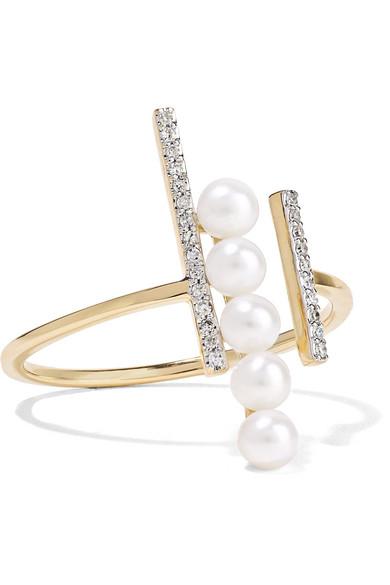 MATEO 14-Karat Gold, Diamond And Pearl Ring