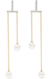 Mateo 14-karat gold, diamond and pearl earrings