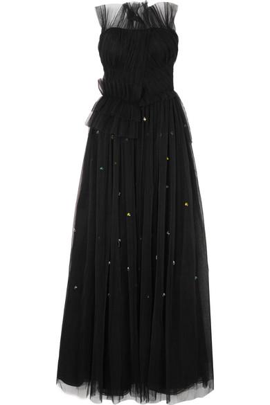 Jason Wu - Strapless Embellished Plissé-tulle Gown - Black