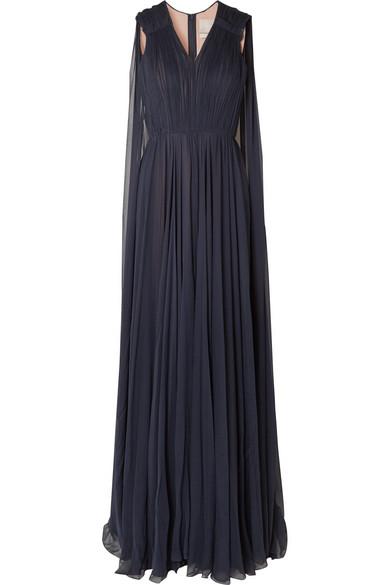 Jason Wu - Cape-effect Silk-crepon Gown - Navy