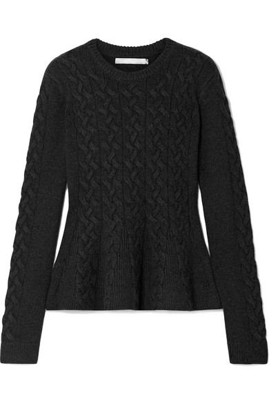 Jason Wu - Cable-knit Wool-blend Peplum Sweater - Charcoal