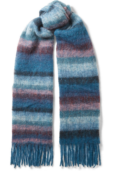 Holzweiler - Madai Fringed Striped Knitted Scarf - Blue