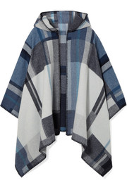 Coley hooded checked wool and cashmere-blend poncho