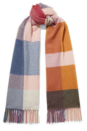 Burbot fringed checked wool and cashmere-blend scarf