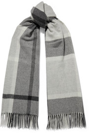 Suter fringed checked wool and cashmere-blend scarf