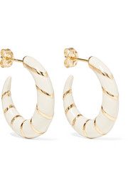 Alison Lou Petite Stripes enameled 14-karat gold hoop earrings
