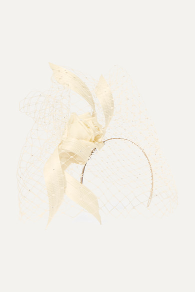PHILIP TREACY Crystal-Embellished Mesh, Satin And Buntal Straw Headpiece in Ivory