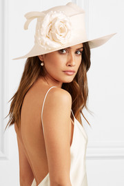 Satin and woven paper hat