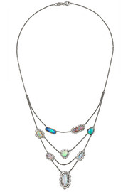 Kimberly McDonald 18-karat blackened white gold, opal and diamond necklace