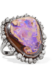 Kimberly McDonald 18-karat blackened rose gold, diamond and opal ring