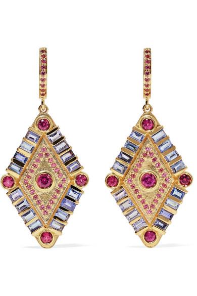 Marlo Laz Shamans Eye 14-karat Gold, Tanzanite And Garnet Necklace