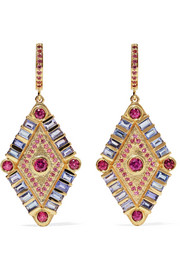 Shaman's Eye 14-karat gold, tanzanite and garnet earrings
