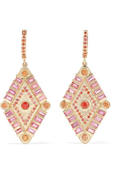 MARLO LAZ Shaman's Eye 14-karat gold, tourmaline and sapphire earrings