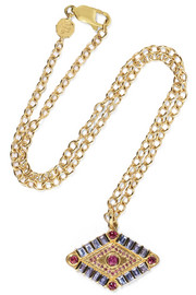 Marlo Laz Shaman's Eye 14-karat gold, tanzanite and garnet necklace