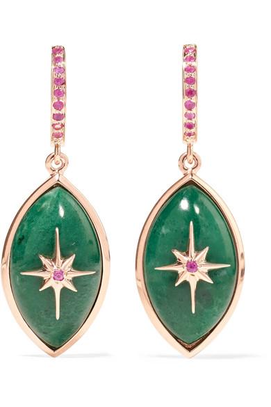 Marlo Laz Mini Eye 14-karat Rose Gold, Malachite And Sapphire Necklace