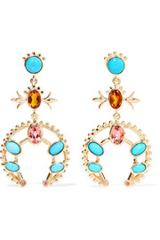 Squash Blossom 14-karat gold multi-stone earrings