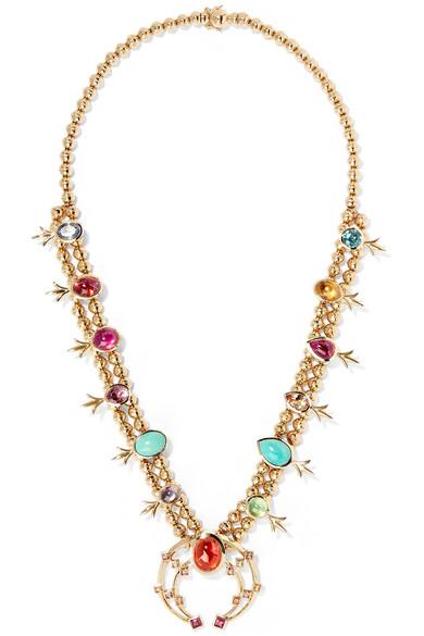 MARLO LAZ Squash Blossom 14-karat gold multi-stone necklace