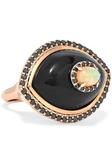 MARLO LAZ Eyecon 14-karat rose gold multi-stone ring