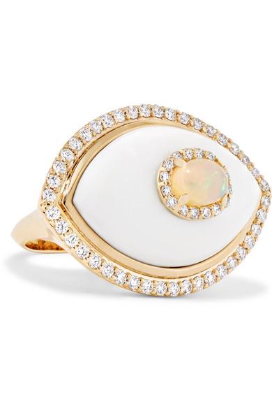 MARLO LAZ Eyecon 14-karat gold multi-stone ring