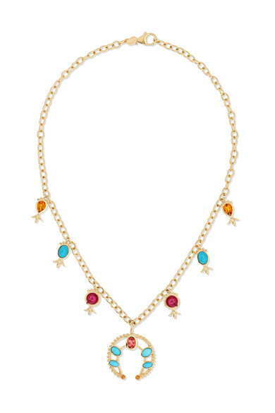 SQUASH BLOSSOM 14-KARAT GOLD MULTI-STONE NECKLACE from NET-A-PORTER